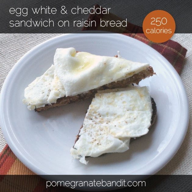 egg white & cheddar sandwich on raisin bread | The Pomegranate Bandit