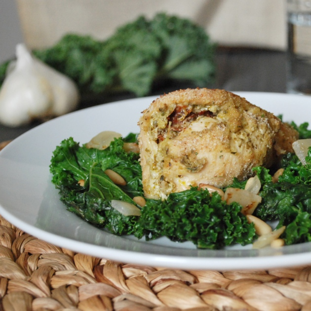 Stuffed Chicken with Sautéed Kale | The Pomegranate Bandit